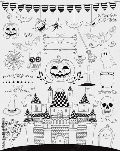 Fotografie, Obraz  Vector Black Hand Sketched Doodle Halloween Icons