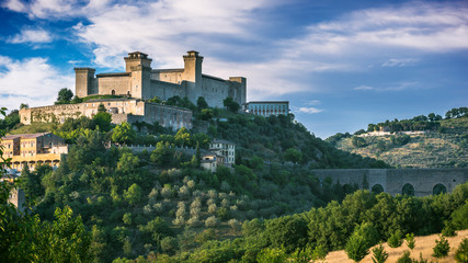 View of the medieval castle Albornoz, and the town of Spoleto in
