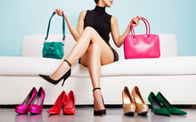 Woman Choosing Bags And Shoes. Fashion And Shopping. Colorful Collection.
