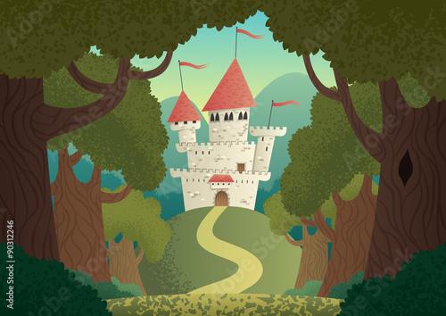 Zamek Krajobraz / Cartoon fantasy zamek. Nie zastosowano przezroczystości. Podstawowe gradienty (liniowe).