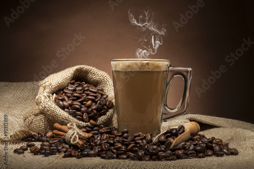Wall Murals Cafe Glass cup with coffee beans