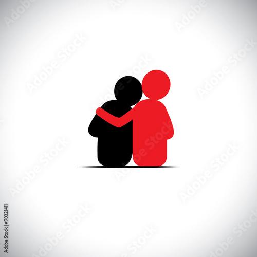 Fotografia  set of friendship, dependence, empathy, bonding - vector icons