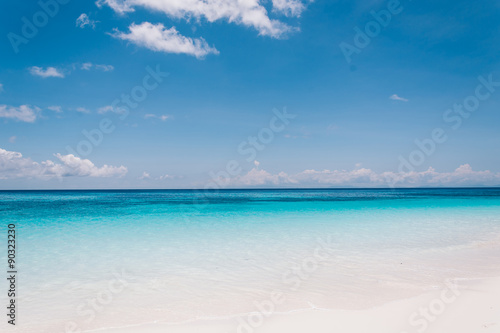 Recess Fitting Beach blue sky with sea and beach - soft focus with film filter