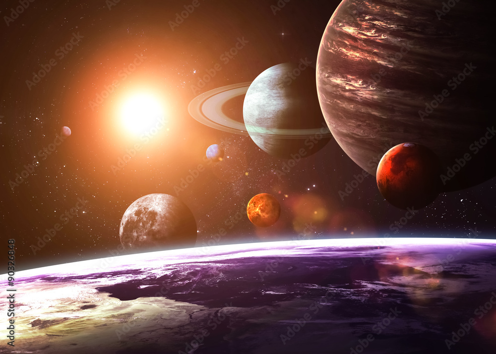 Solar system and space objects. Elements of this image furnished