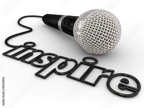 Fotografie, Obraz  Inspire Microphone Word Cord Motivational Speaker Keynote Addres
