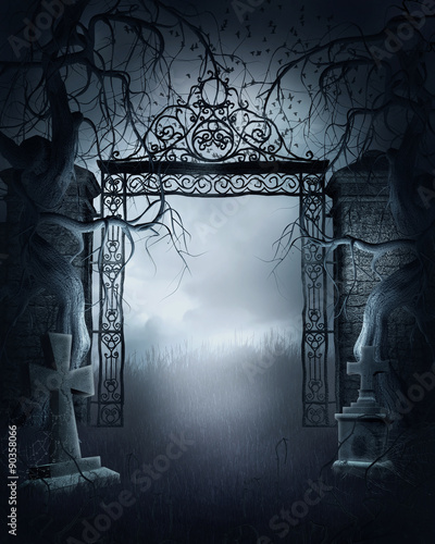 Foto auf AluDibond Friedhof Cmentarna brama z drzewami i krzyżami