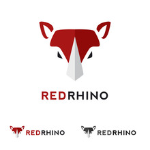 Vector Minimalistic Flat Animal Head Logotype. Red Rhino Logo.