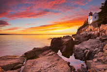 Bass Harbor Head Lighthouse, Acadia NP, Maine, USA At Sunset