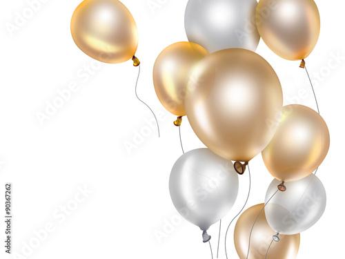 Papel de parede gold and white balloons