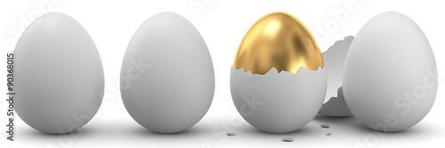 Fotografie, Obraz  3d Eier und ein goldenes Ei