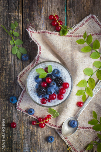Fotografie, Obraz  Natural yogurt with chia seeds and fresh berries
