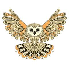 Zentangle stylized Brown flying Owl. Hand Drawn vector illustrat