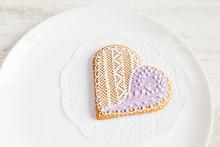 Purple Heart Shape Gingerbread Cookies