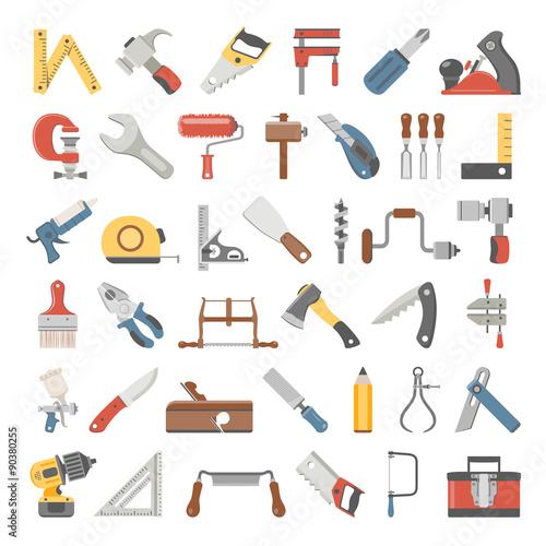 Fotografie, Obraz  Flat Icons - Hand Tools