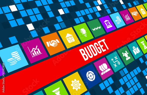 Fotografía  Budget concept image with business icons and copyspace.