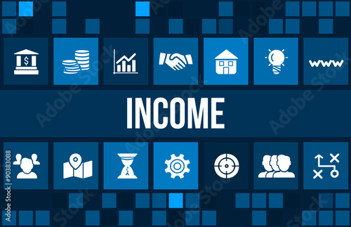 Fotografía  Income concept image with business icons and copyspace.