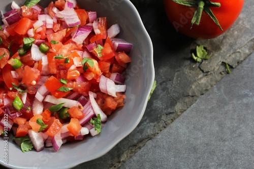 Fotografie, Obraz  Tomato salsa, overhead view