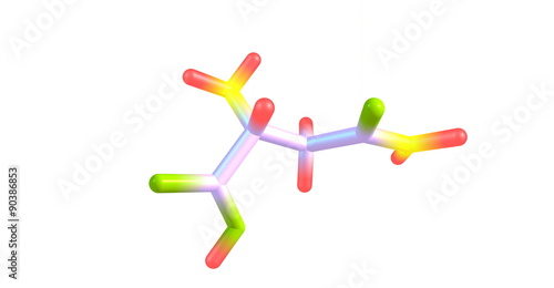 Asparagine molecule isolated on white Canvas Print