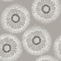 Panel Szklany Seamless pattern of dandelion. Hand-drawn floral background.