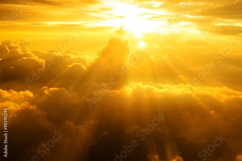 mata magnetyczna Sunset, sunrise on clouds, light rays effect