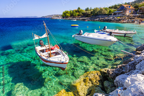 Fototapeta Fishing boats at the coast of Zakynthos, Greece