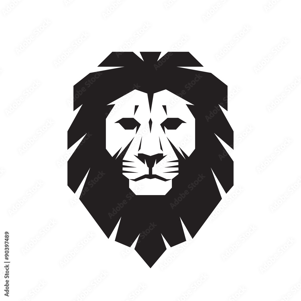 Fototapeta Lion head - vector sign concept illustration. Lion head logo. Wild lion head graphic illustration. Design element.