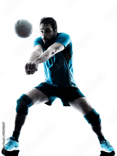man volleyball  silhouette Canvas Print