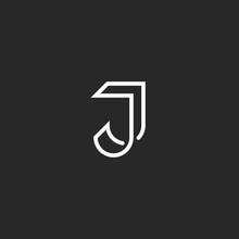J Letter Logo Monogram, Illusion Crossing Thin Line, Black And White Mockup Emblem For Invitation Card