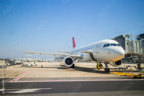 Foto op Aluminium Luchthaven plane at the airport during loading passengers
