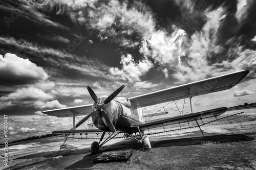Old airplane on field in black and white Poster