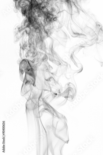 Fototapety, obrazy: Abstract black smoke swirls over white background