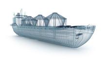 Oil Tanker Ship Wire Model Iso...