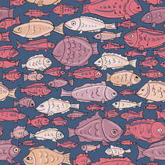cartoon fishies seamless patterm. colorful vector sea illustration