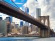 The skyline of Manhattan and the Brooklyn Bridge