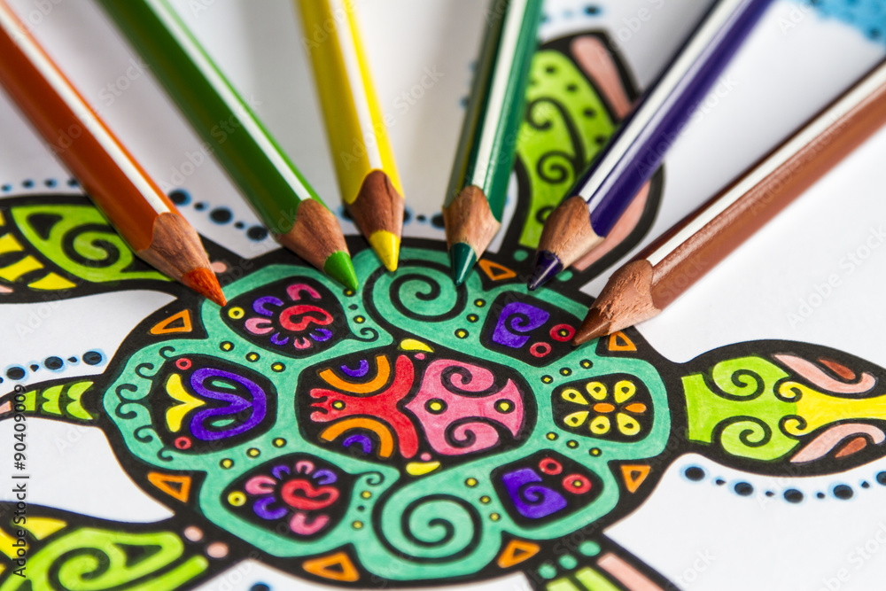 Fotografía Lápices De Colores Sobre Dibujo De Tortuga Mandala