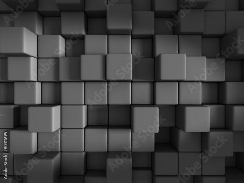 Fototapeta ściana z ciemnoszarych sześcianów 3D
