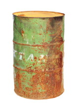 Old Rusty Metal Barrel Oil Isolated On White Background, With Clipping Path