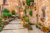 Fototapeta Fototapety na drzwi - Alley in old town Tuscany Italy