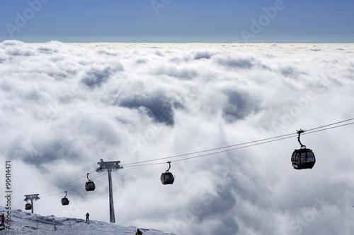 Foto op Plexiglas Landschappen Ski lift