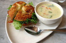 Bacon, Lettuce And Tomato On A Cheese Bun With Creamy Vegetable Soup.