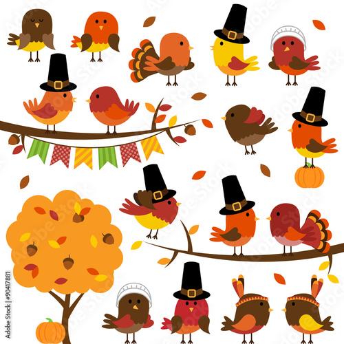 Fényképezés  Vector Collection of Cute Thanksgiving and Autumn Birds