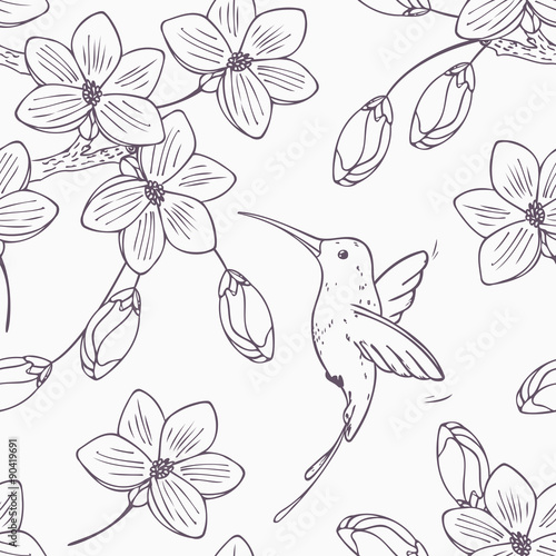 hand-drawn-monochrome-version-of-seamless-pattern-with-humming-bird-colibri-and-flowers
