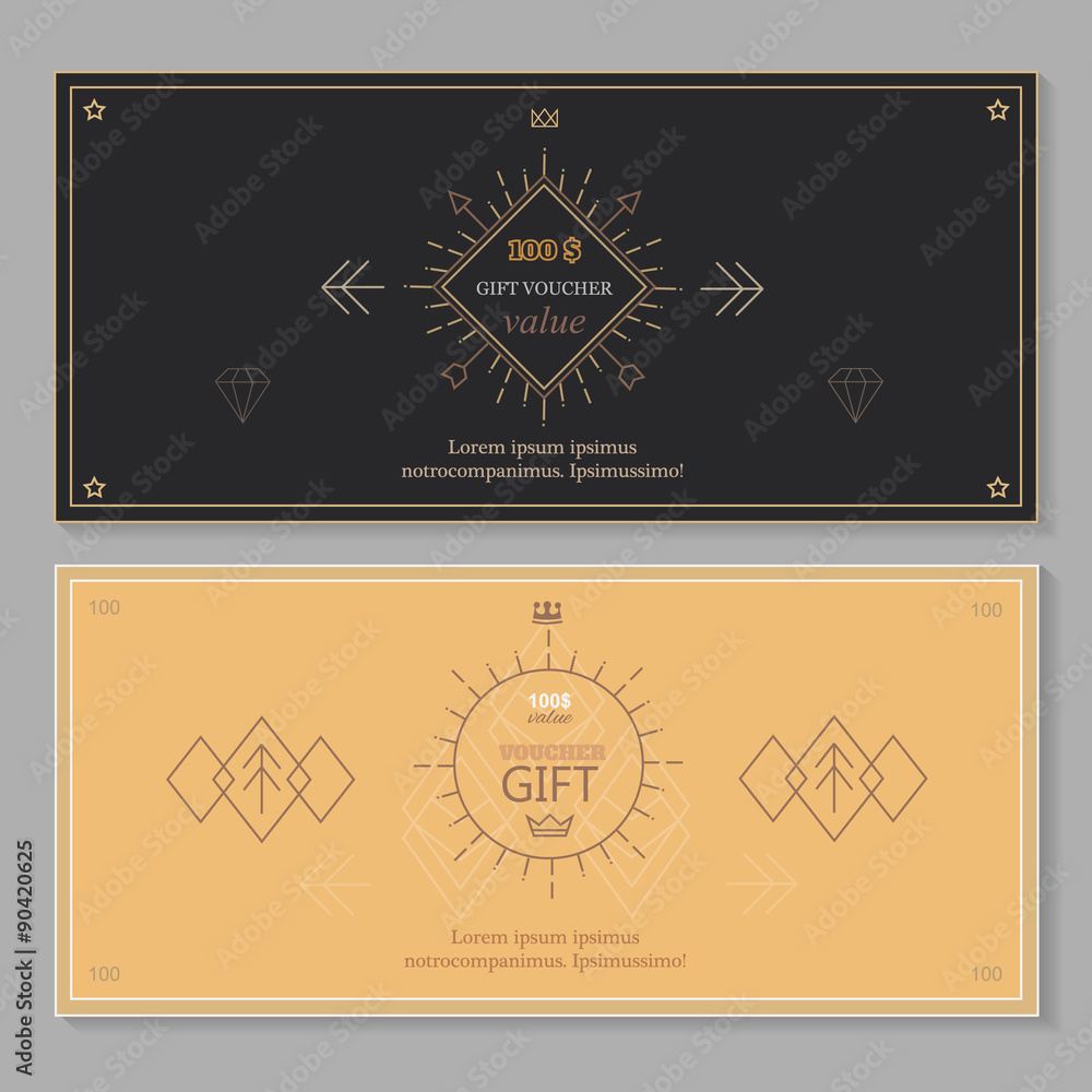 Gift Certificate Voucher Coupon Template With Line Art Hipster Foto