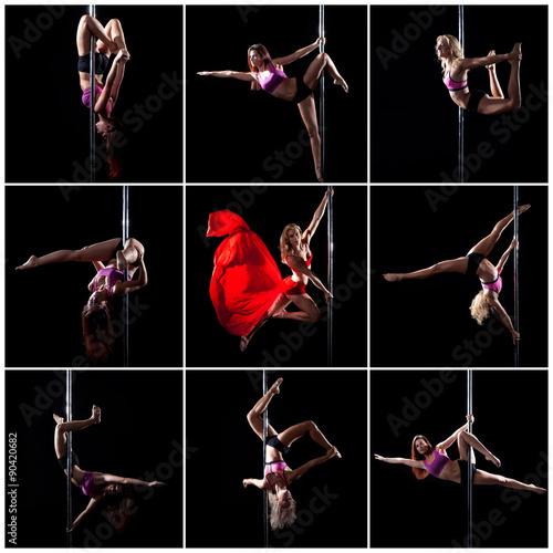 Fotografia  Junge Frau macht Pole Dance an der Stange, Collage