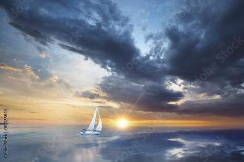 Photo  Voilier en pleine mer