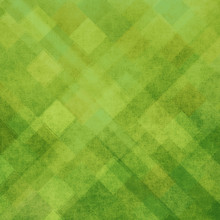 Abstract Green Background With Diamonds And Striped Diagonal Patterns, Triangle And Square Shapes
