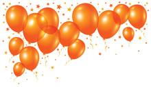 Vector Orange Balloons On White Background