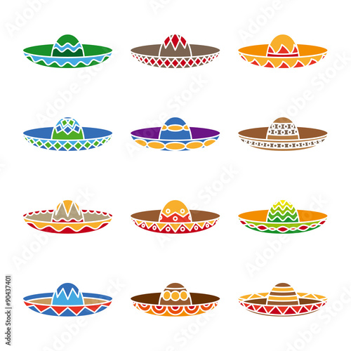 Fotografie, Obraz  Mexican sombrero color flat icons set