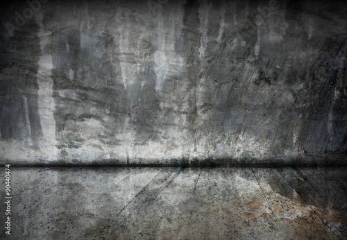 Foto op Canvas Betonbehang Abstract old cement room with grunge wood floor