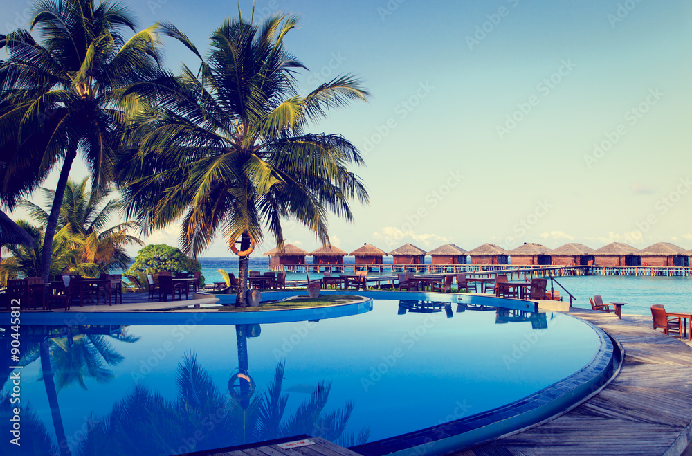 Fototapety, obrazy: Tropical resort swimming pool and cafe bar